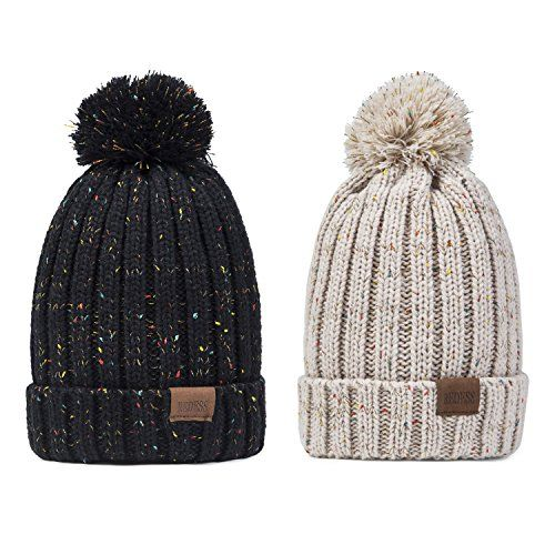 a18484f4c26ee New REDESS Women Winter Pom Pom Beanie Hat with Warm Fleece Lined