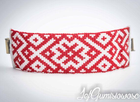 Bracelet. Loom-beading. Slavic bracelet. White by JejGumisiowosc