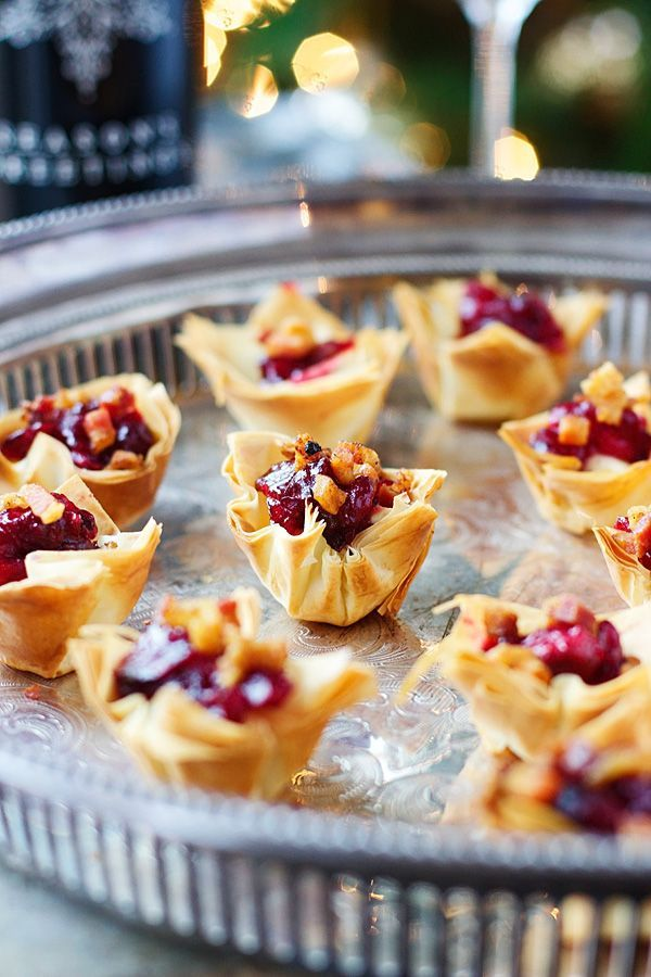 Brie, Cranberry and Pancetta Phyllo Bites