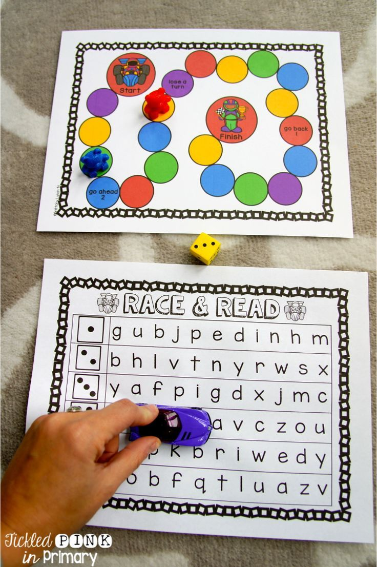 students will work on letter fluency with this Race & Read game (other skills included as well)