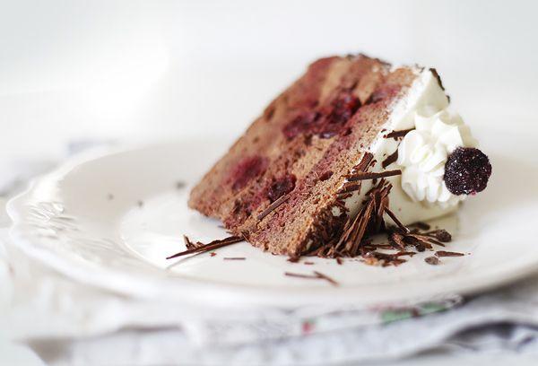 На мой взгляд, очень удачный вариант, отличный от классического рецепта. Обычно в этом торте используется шоколадный бисквит, взбитые сливки и вишня. Вроде ничего…