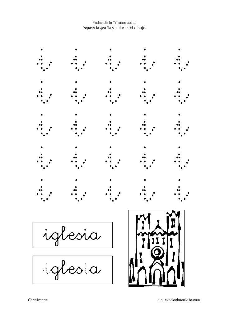 Letra i minúscula. Fichas de letras. Fichas educativas para niños de 3 a 5 años, clasificadas por temas. Cachivache, fichas para niños