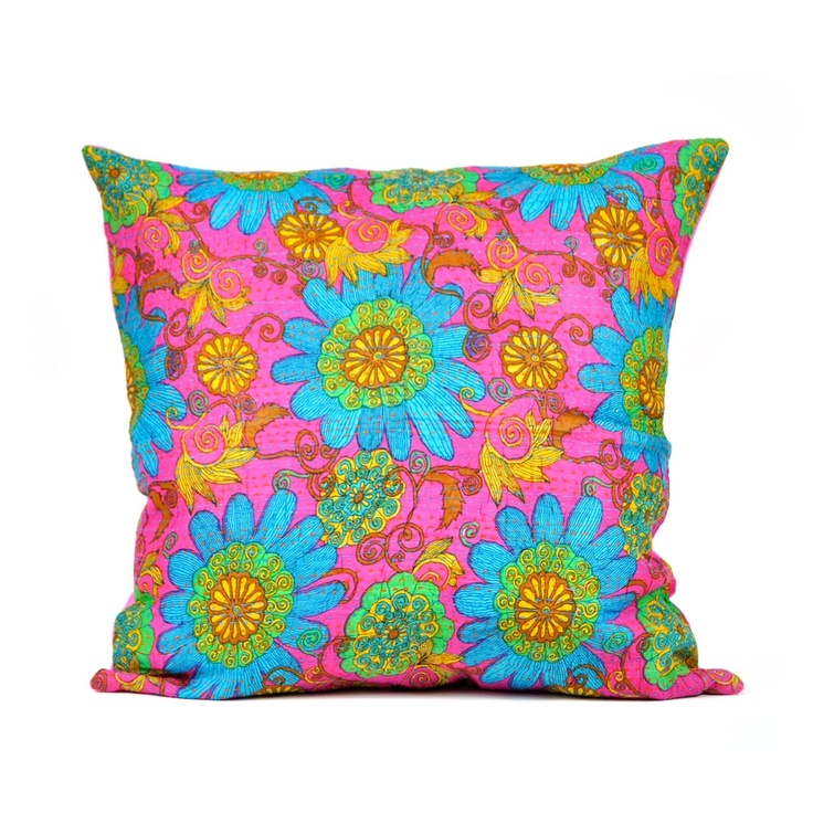 Kantha Pillow Cover,'60's style
