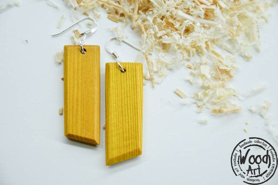 Yellow Wood Earrings Yellow Drop Earrings Yellow by TheWoodArtShop