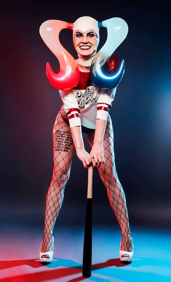 Harley Quinn Suicide Squad inspired inflatable Latex Hood