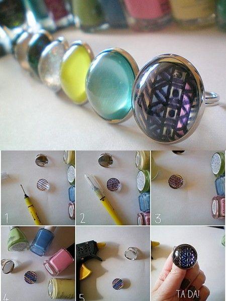 Tuto bague aztèque avec du vernis à ongle // DIY aztec ring with nail polish