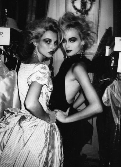 1996: Kate Moss and Amber Valletta, shot backstage at Vivienne Westwood by Roxanne Lowit