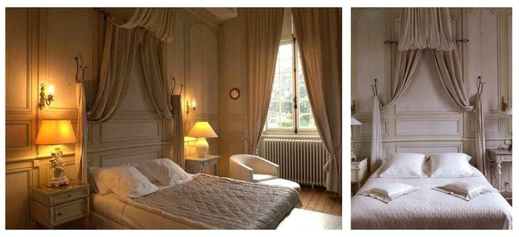 French inspired paneling in bedroom.