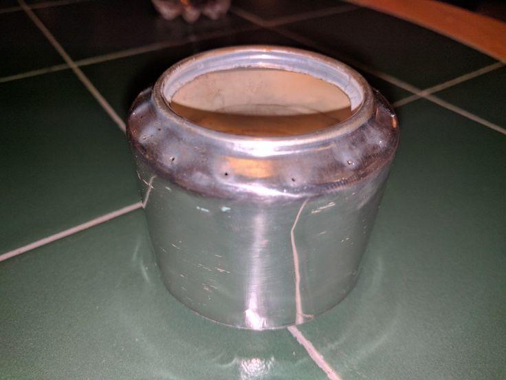 Pressurized alcohol soda can stove.