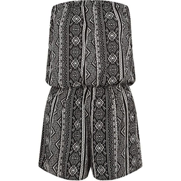 Amalie & Amber Black Aztec Print Bandeau Playsuit (¥1,400) ❤ liked on Polyvore featuring jumpsuits, rompers, playsuits, jumpsuit, bandeau jumpsuit, cocktail jumpsuit, summer jumpsuits, holiday jumpsuits and jump suit