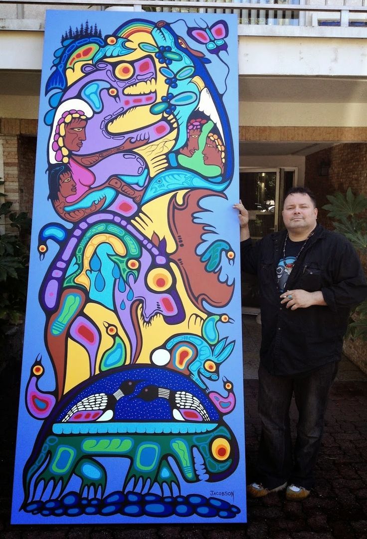 Above photo: Mark Anthony Jacobson with a recent painting finished in Sept. of 2014 titled: Family Generations. Measures: 120 x 48 inches. Sold to a collector in Ottawa Ont.