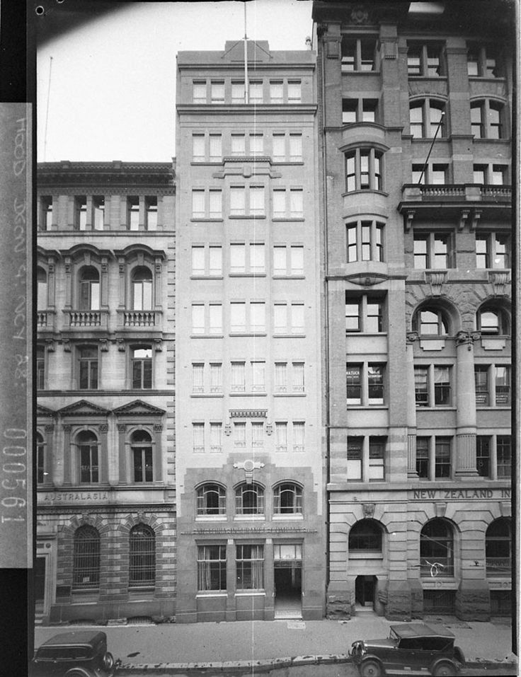 Photograph of the facade of Victoria Insurance Co. House, Sydney in 1937. This  building was photographed for Mrs Florence Taylor, editor of 'Building' and owner of Building Publishing Co, Loftus Street, Sydney.  buildings were photographed for Mrs Florence Taylor, editor of 'Building' and owner of Building Publishing Co, Loftus Street, Sydney. From the Mitchell Library, State Library of New South Wales : http://www.acmssearch.sl.nsw.gov.au/search/itemDetailPaged.cgi?itemID=10890