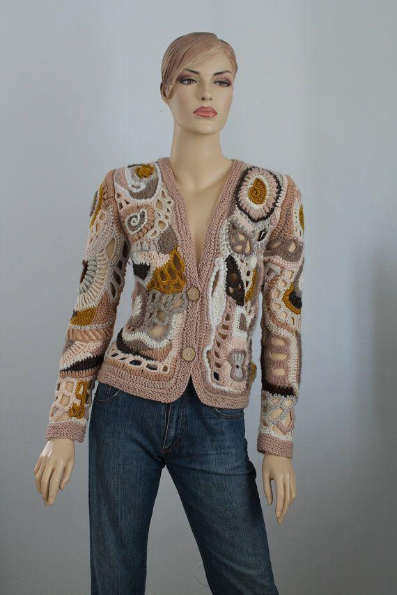 Böhmische Sweater - Freeform Crochet Lace Cardigan - Jacke - tragbare Kunst - Unikate stricken - Größe S -M
