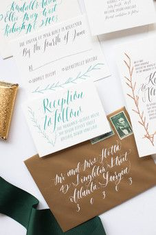 calligraphy | calligraphy wedding invitation | vintage stamp | green | copper | hand lettered | unique | whimsical