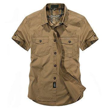 Designer Outdoor Sport Cotton Breathable Multi Pockets Cargo Short Sleeve Dress Shirts for Men - NewChic Mobile.