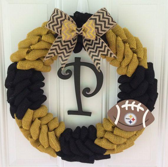 Pittsburgh Steelers burlap wreath w/ chevron bow by TheCraftinBear