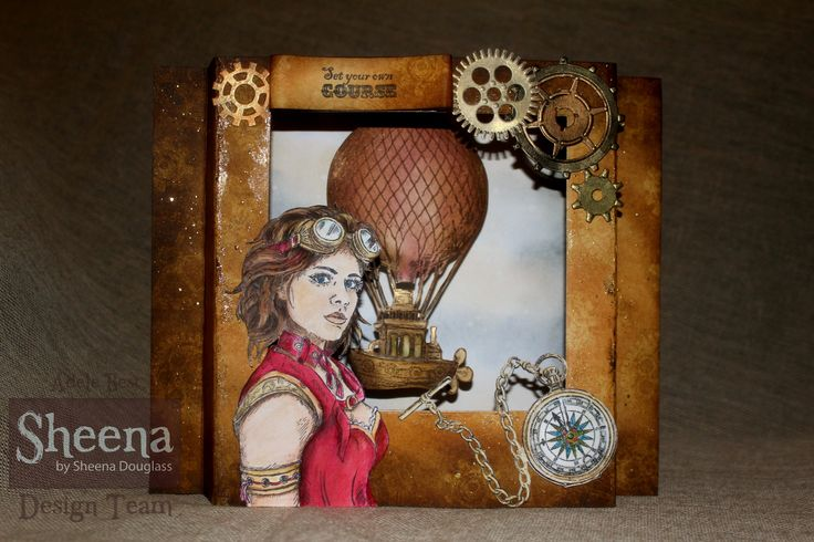 Sheena Douglass Time Traveller collection. Diorama card with floating balloon.