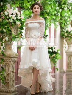 Col en bateau robe de mariée longueur asymétrique en satin avec manches