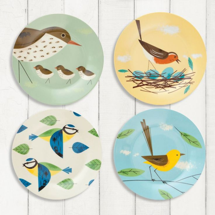 MAGPIE - BIRDY - SET OF 4 SIDE PLATES