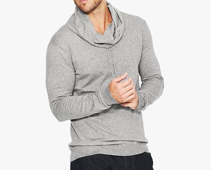 Men's Grey Cowl Neck Jumper
