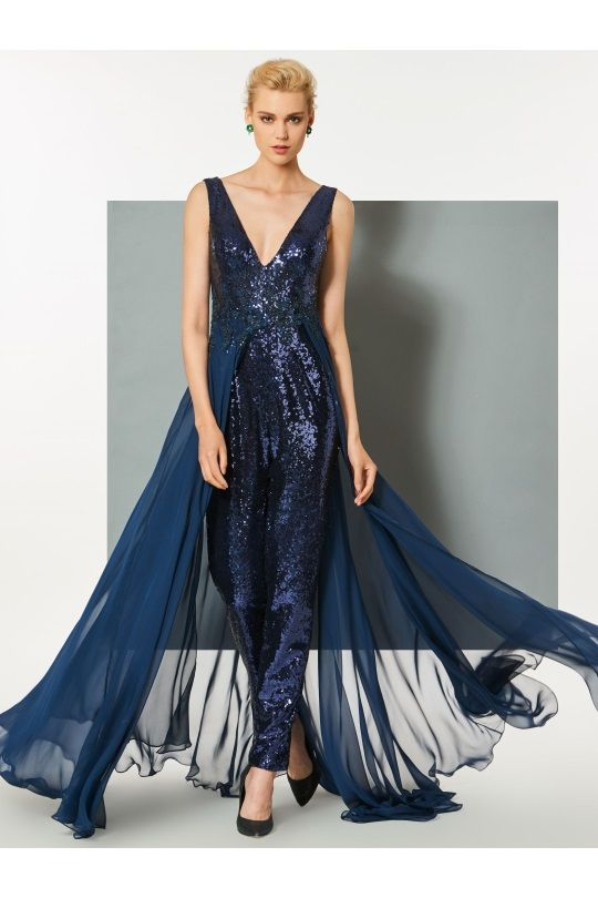 9e963f5f4f8 dresswe.com Offers High Quality Sheath V Neck Sequin Evening Jumpsuit With  Train