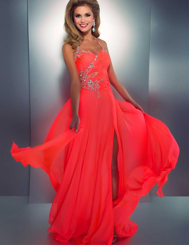 bridal coral prom dresses neck sleeveless chiffon sexy low back cut out a line party dress from ivowedding - Colors For Prom