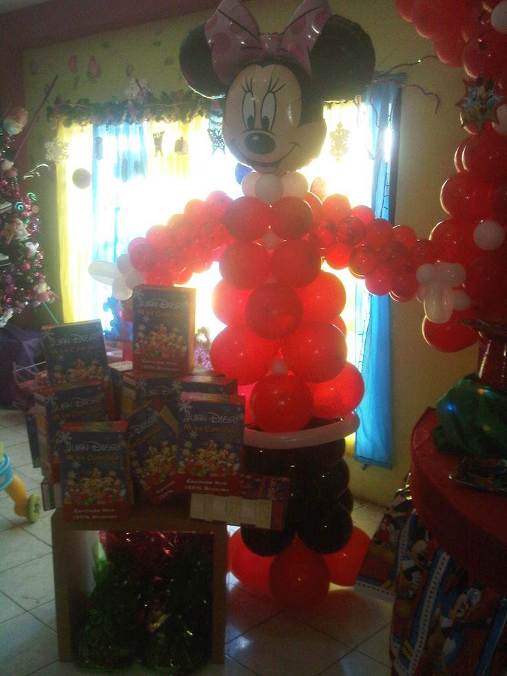 Minnie mouse navidad decoraciones con globos pinterest - Decoracion de navidad con globos ...