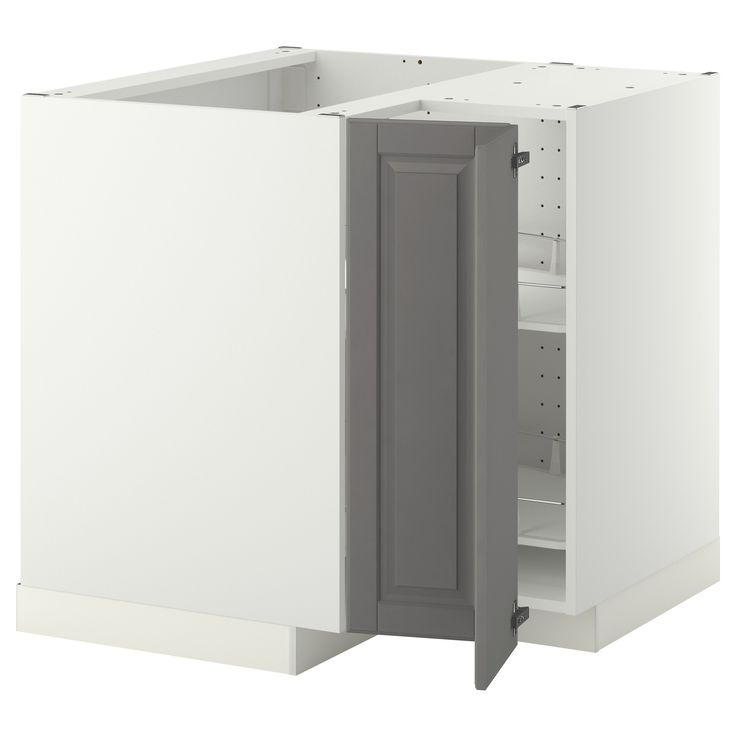METOD Corner Base Cabinet With Carousel White/bodbyn Grey 88x88 Cm