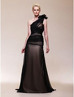 TS Couture® Formal Evening / Military Ball Dress - Elegant Plus Size / Petite A-line One Shoulder Sweep / Brush Train Chiffon with Flower(s) – USD $ 255.00