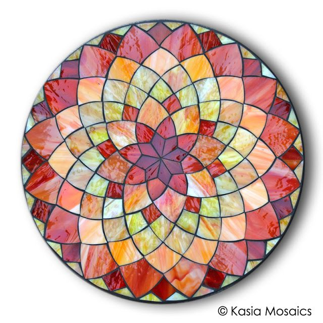 Stained Glass Mosaic Dahlia Flower Mandala Design by Kasia Mosaics ~ Templates and Online Classes: http://www.kasiamosaicsclasses.com/
