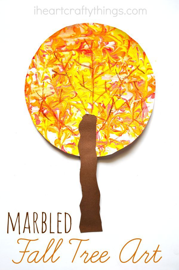 Kids can have fun with marbled shaving cream painting and then make a beautiful Fall Tree Craft.