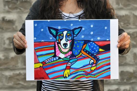 Dog Art  Blue Dog Poster  Basenji DOG ART by HeatherGallerArt, $24.00