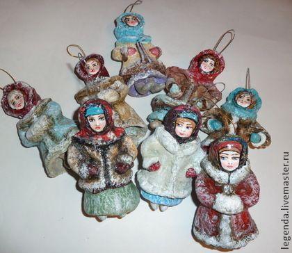 Барышни - елочные игрушки,елочные украшения,игрушки ручной работы,елочные игрушки из ваты