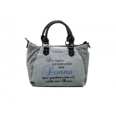 "LE #PANDORINE - Borsa MINI LUREX ""Donna..."" in felpa - Grigio - Elsa-boutique.it <3"