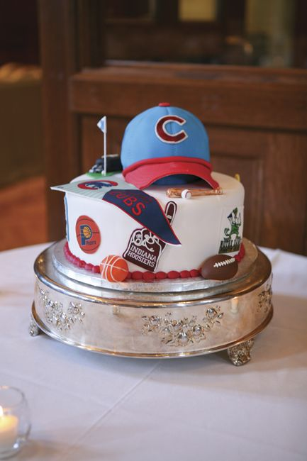 Mark's love of the Chicago Cubs is evident in the groom's cake, created by IMU Catering. Photo by Jenny and Adrian Grise, Grise Photography