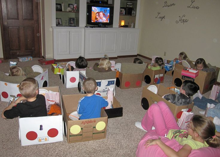 The drive-in movie party for kids....keeps the popcorn mess contained too!