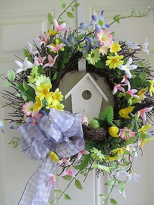 Door-Wreath-Shabby-Chic-Country-Cottage-floral-birdhouse-gingham-bow