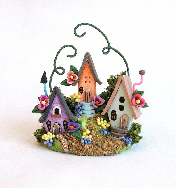 Miniature Charming Fairy Whimsy Houses Trio by ArtisticSpirit