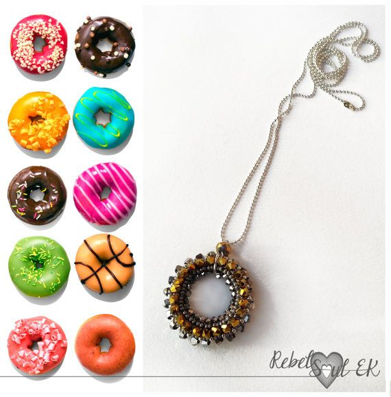Donut Necklace Long Pendant  Donut Pendant Crystal by RebelSoulEK