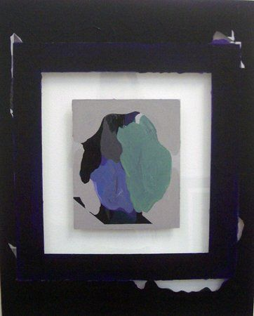 Sean Bailey, Emerging Head, 2012, synthetic polymer paint and collage on glass, 68 x 55 cm.