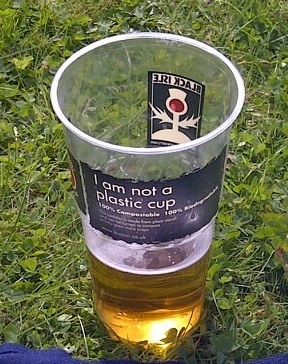 Black Isle branded 'I am not a plastic cup' tumblers at the Belladrum Festival.