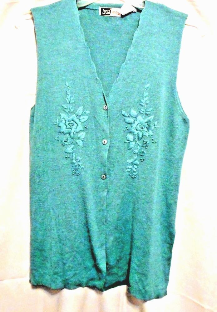 Lucia Petites Sweater Tunic Vest Size Small 100% Acrylic Blue Green Floral #LuciaPetites #Tunic