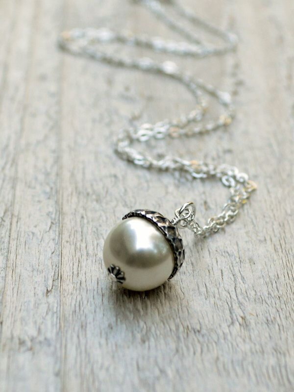 Pearl Acorn Necklace -  Sterling Silver, Swarovski Pearl, Cream, White, Winter, Woodland by BeadinByTheSea on Etsy https://www.etsy.com/listing/63539752/pearl-acorn-necklace-sterling-silver