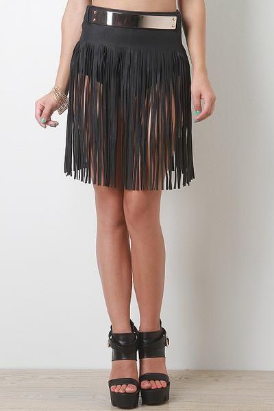 Fringed Black Leatherette Skirt Belt