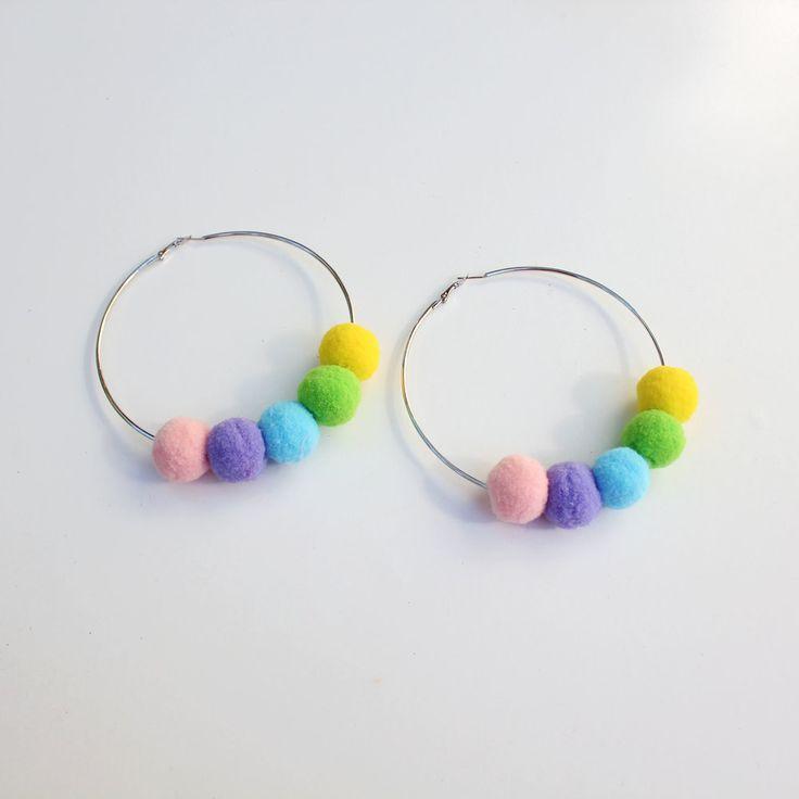 Pom Hoop Earrings (Pastel Rainbow Row) by Elleni the Label