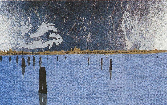 Emilio Greco, Mani e laguna, 1980. Serigrafia a 7 colori, carta Fabriano, F4 gr 280.