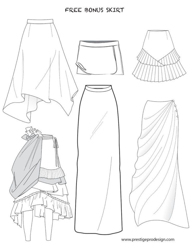 Fashion Flat Sketches For Skirts Skirt Fashion Fashion