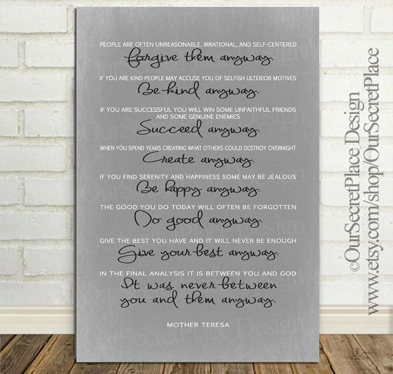 Any Size PRINT Do It Anyway Typography Inspirational Wall Art Poster Decor Quote by Mother Teresa Gift for Her Office Art Coworker