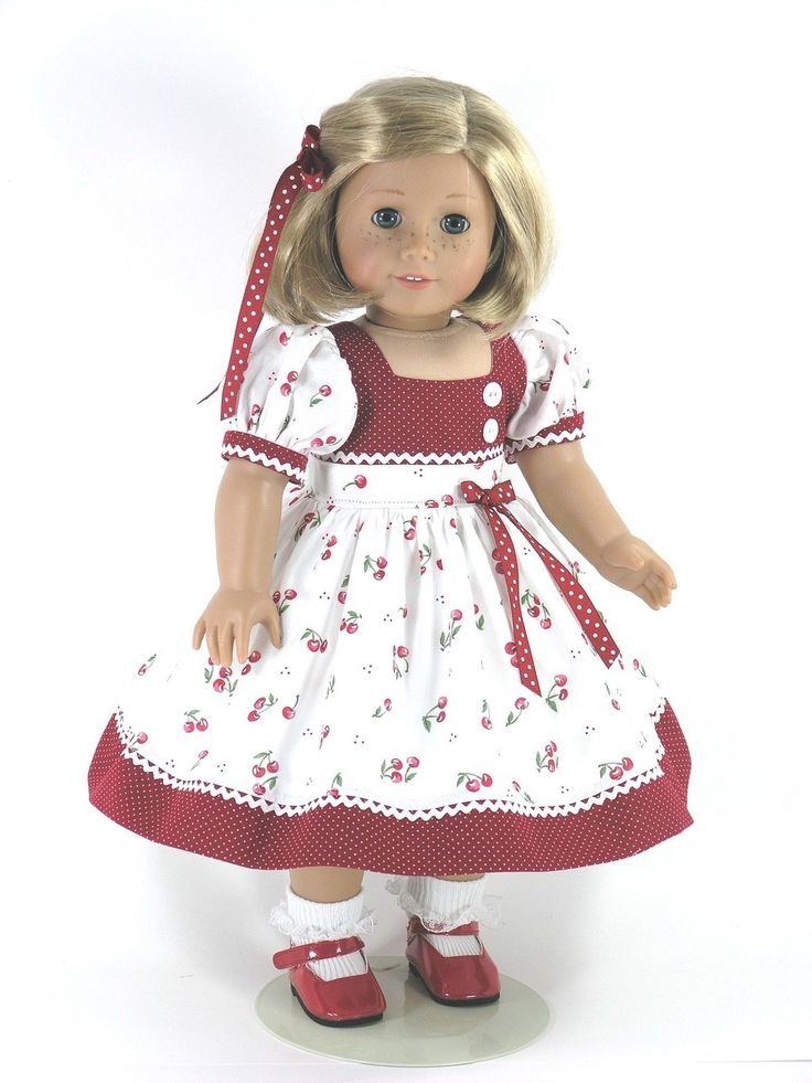 Handmade American Girl 18 inch Doll Dress - Dots and Cherries - Exclusively Linda Doll Clothes