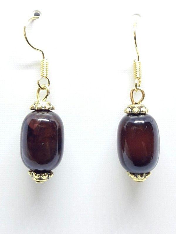 Schöne Unikat Ohrringe Ohrhänger in gold mit echten Achat Edelstein Perlen in braun rost rot